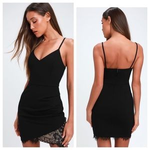 Lush Balhi Black Lace Bodycon Mini Dress. New